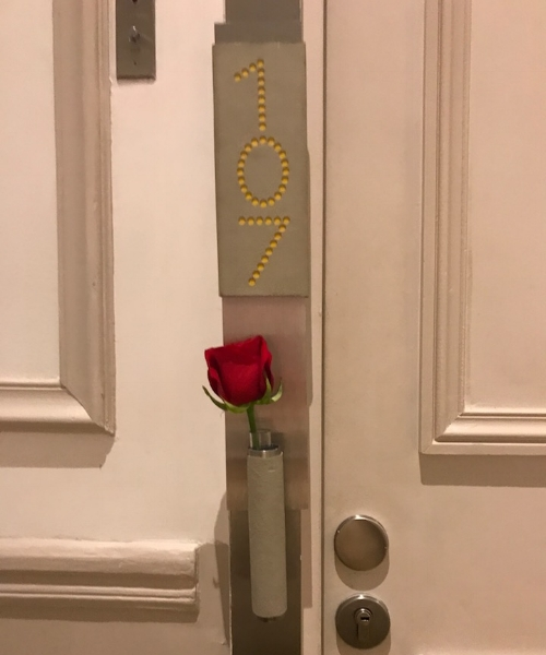 The rose outside our door was a very nice touch