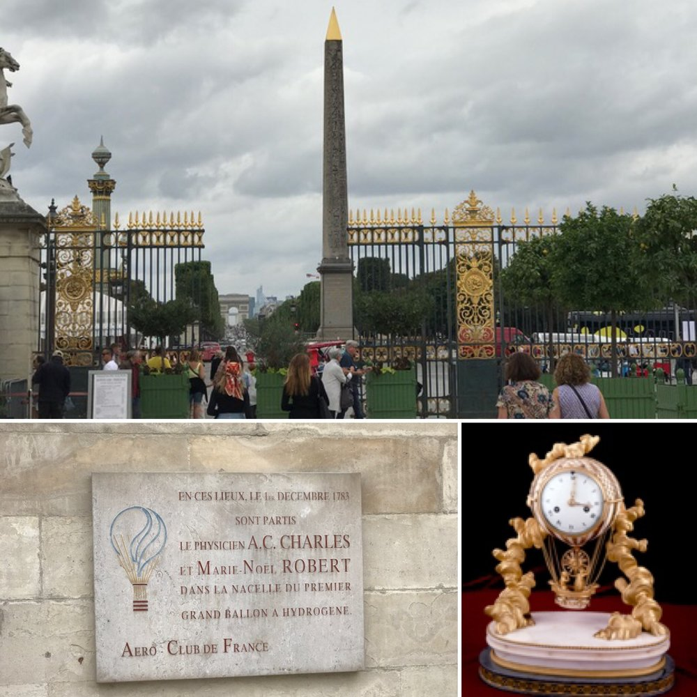 Plaque in Paris commemorating the first hot air ballon on left, and clock commemorating the same thing at Clermont