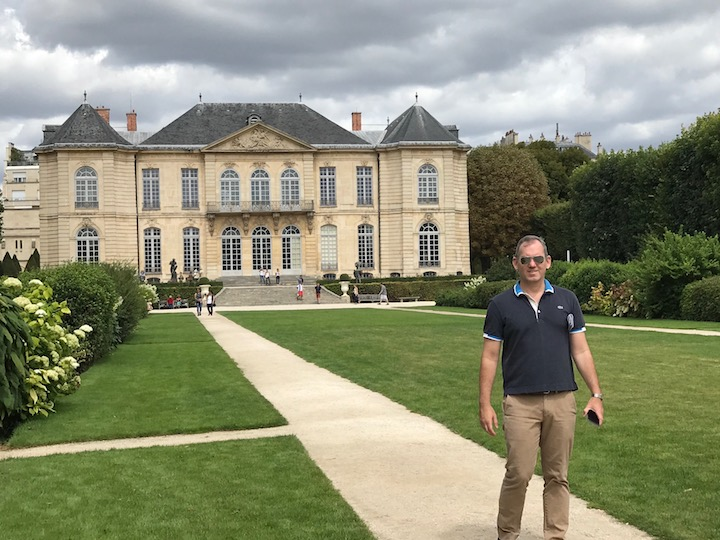 Brendan in the garden of the Hotel Biron (Musee Rodin)
