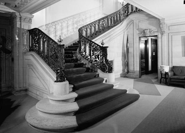 The main staircase in the Fahnestock era