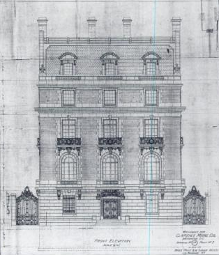 JH de Sibour architectural drawing of the Moore Residence