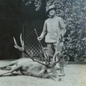 Thomas Cardeza with a stag shot on his game preserve in Austria-Hungary