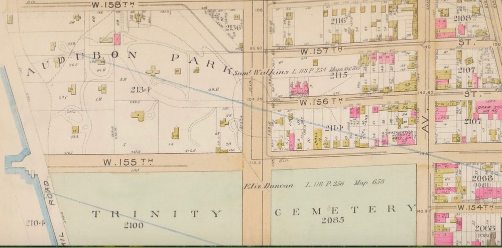 A map from the latter nineteenth century showing the suburban villas in Audubon Park, freestanding homes on narrower lots immediately to the east, and row house development a block in from that.