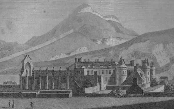 An 18th century view of Holyrood Place and Abbey