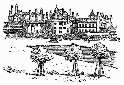 A drawing of Whitehall, the Cockpit is the steep-roofed building in the center