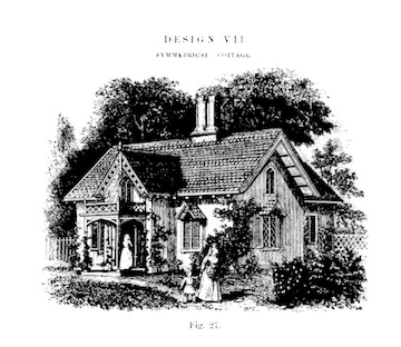 Illustration of a Symmetrical Cottage Design from AJ Downing's  The Architecture of Country Houses