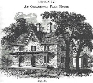 An illustration of an ornamental farmhouse