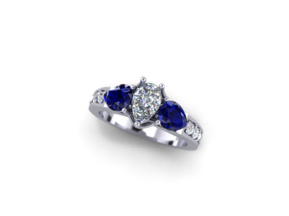 This image of a diamond and sapphire ring is completely computer generated allowing you to view your ring before approving the design.