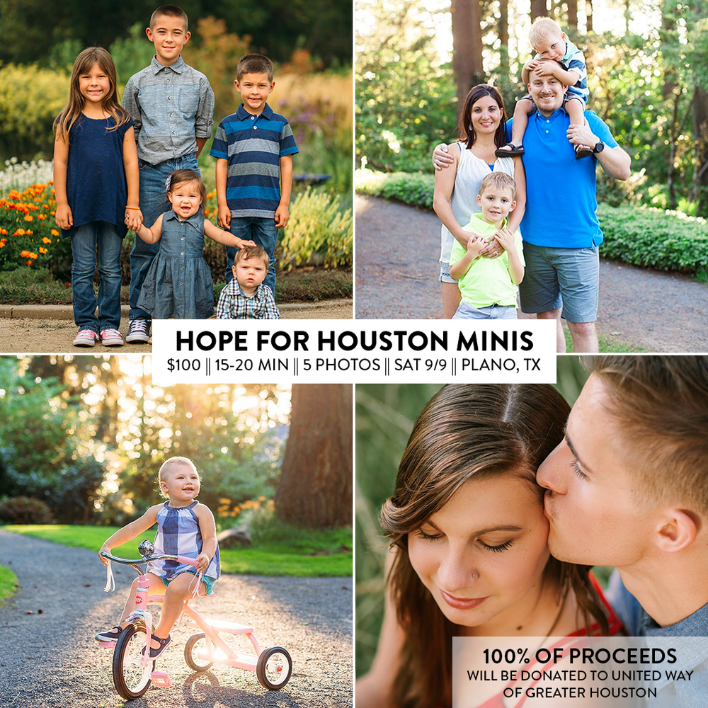 SUPPORT OUR NEIGHBORS - Join me for a 15-20 minute session at Arbor Hills Nature Preserve on Saturday, September 9th! 100% of the proceeds from this session will be donated to support those affected by Hurricane Harvey via the United Way of Greater Houstonflood relief fund.You'll receive 5+ images with personal printing rights delivered via an online gallery within 2 weeks of the session date (probably a lot sooner!)I look forward to seeing you!| | | | | | | | | | |PLEASE NOTE: Due to the back-to-back nature of the mini sessions, late arrival to the session may result in fewer photos.