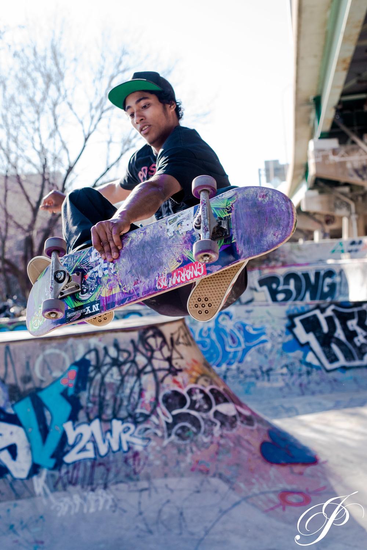 A trick by a skateboarder at FDR skate park in Philadelphia capture by John Paul Dunn