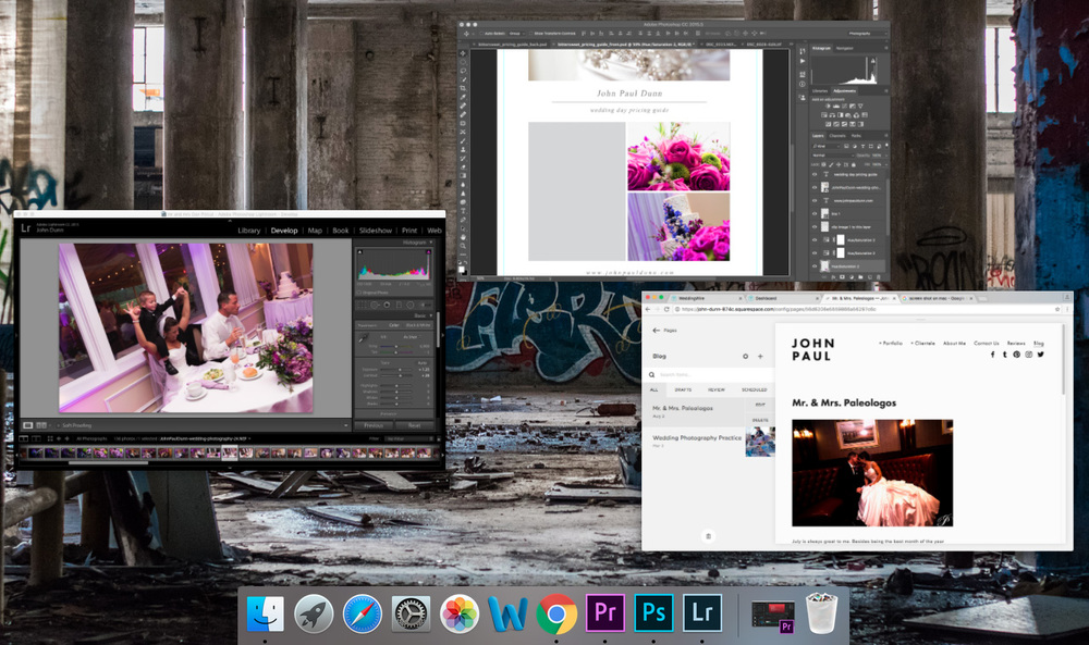 Workspace of wedding photographer John Paul Dunn, using Adobe CC for the MacBook Pro