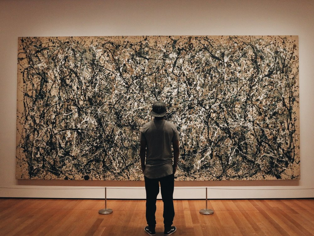 Matt Esparza viewing Jackson Pollock