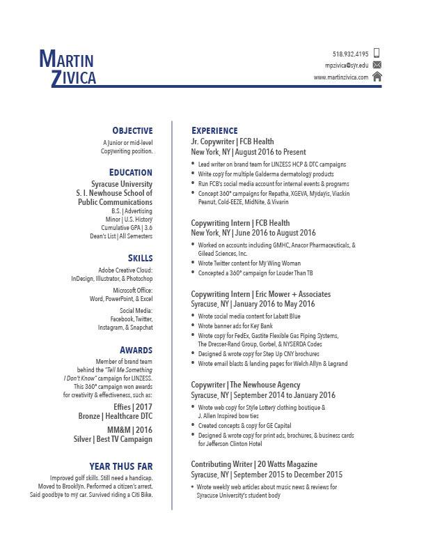 Resume — Martin Zivica