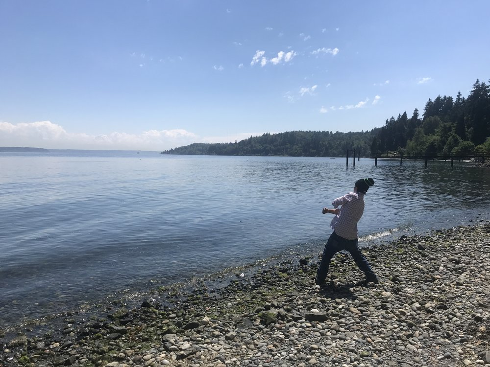 Skipping rocks at Vashon Island