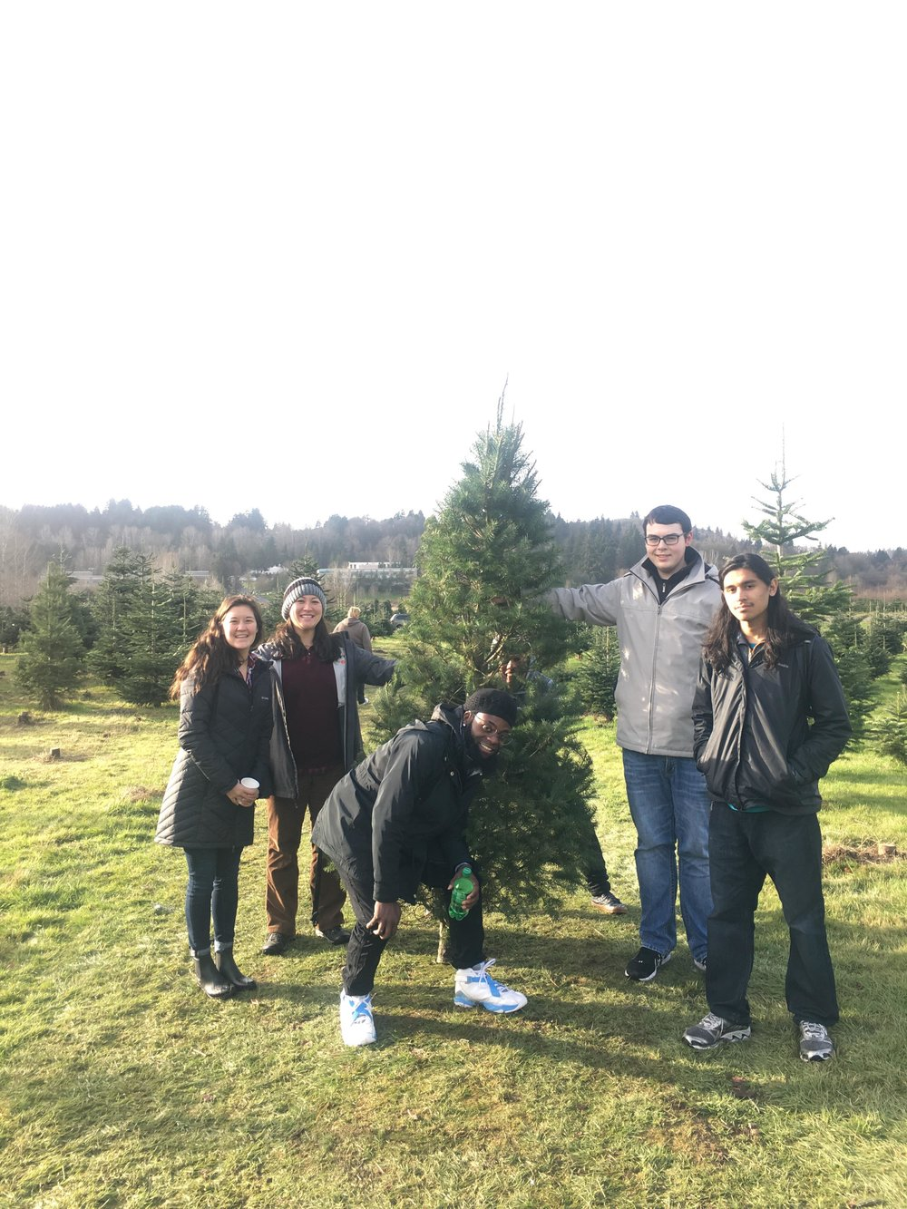 Staff and some of our young people picking out a tree for SYM