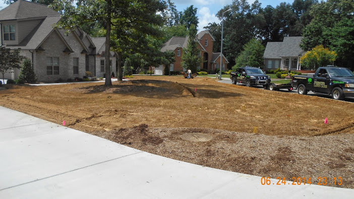 Large home with front lawn prepped for new sod - Premier Lawn Care of Nashville