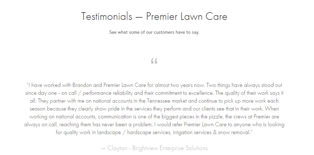 premier lawn care testimonials