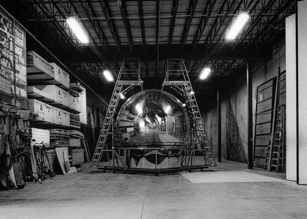 The stage version of the Trinity test bomb is a near-to-scale replica.