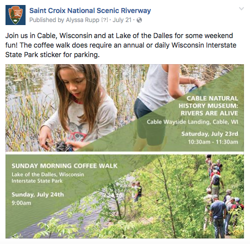 Social media is a very important communication tool for the Riverway, whether it be event announcements (like this one), or river conditions alerts.