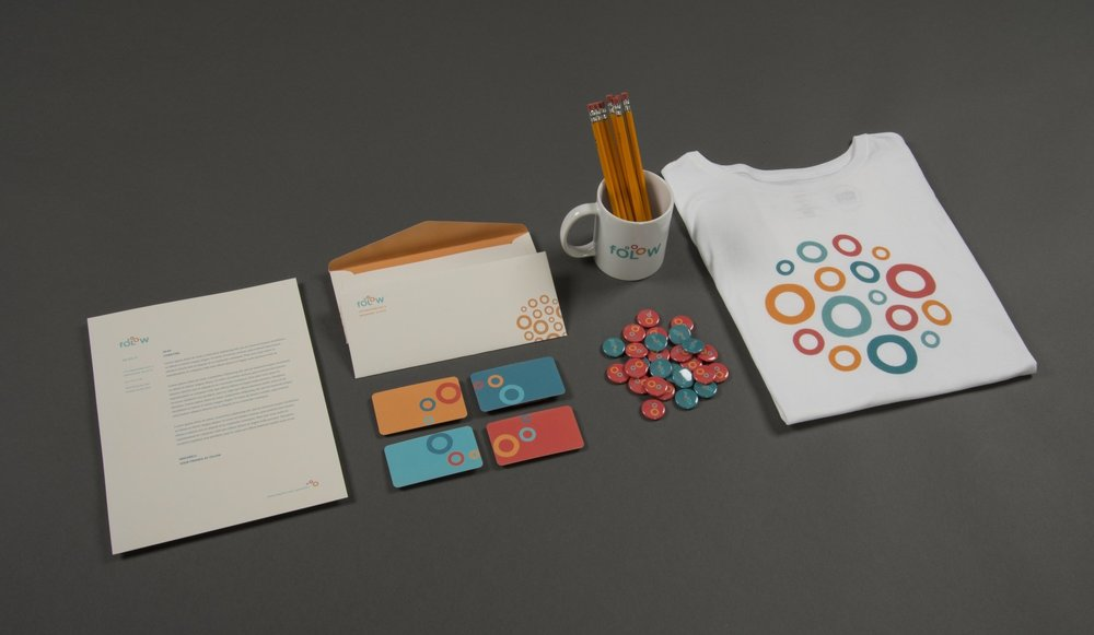 This series of circles became one of the main visual elements of the fOLOW brand, from business cards and swag, to many parts of the final in-person presentation.
