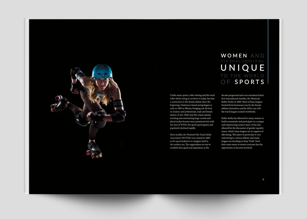 The second spread includes an action shot and a brief history of women in their respective sport to show it's progression and where the sport has yet to go.