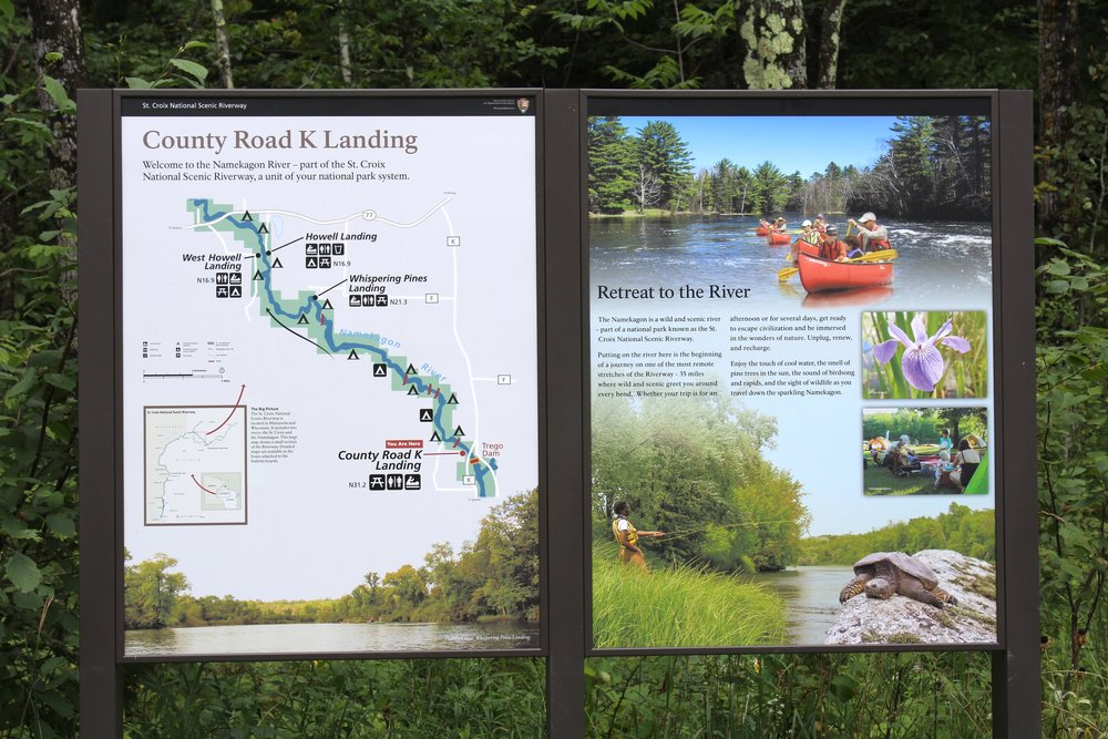 Many river landings introduce visitors to that section of the park with a map and short description of the area. I helped  design, print, and assemble them onto large 3x4 foot sheets of metal all in our office.