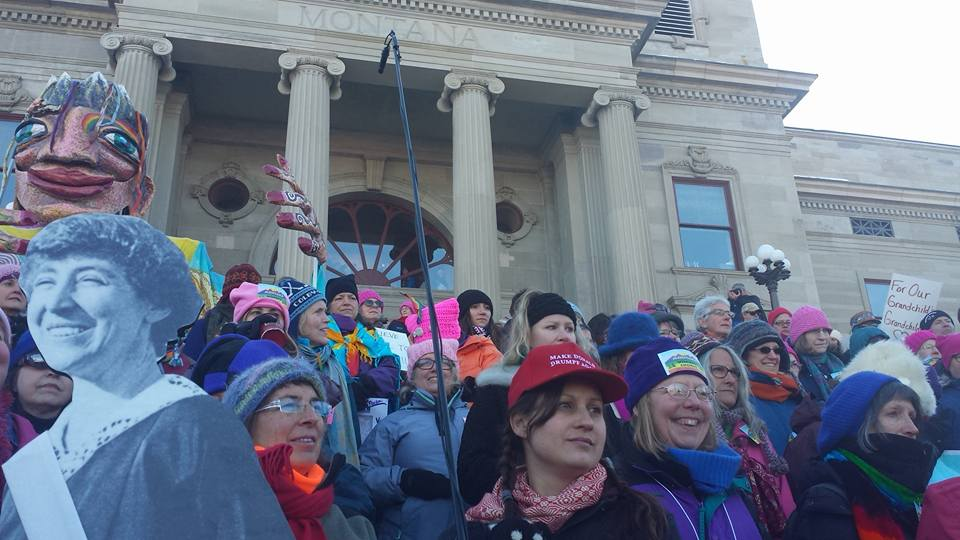 Synnøvei (and Jeanette Rankin!) at the Women's March in Helena 2017