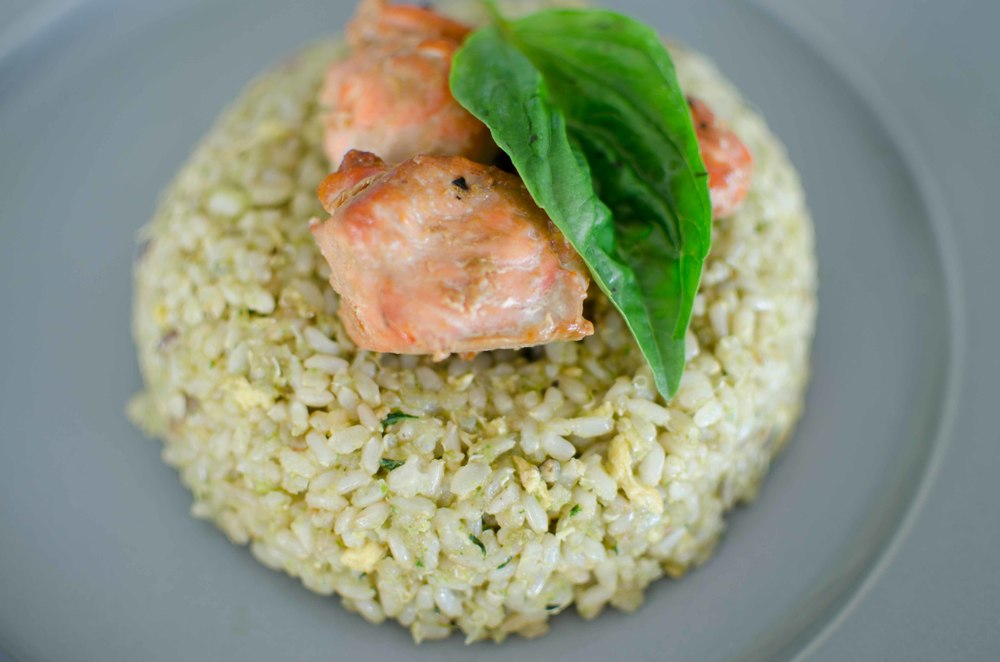 Salmon and Asparagus Fried Rice with Basil and Light Coconut Milk