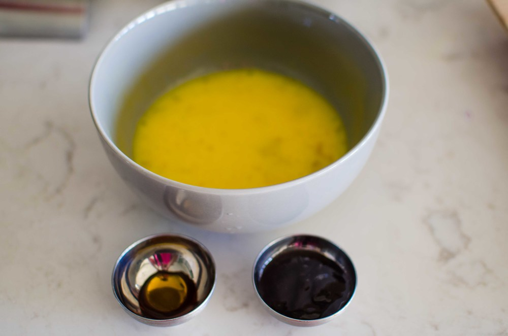 Mix in the 2 beaten eggs, 1/2 tbsp of chinkiang vinegar, and 1/2 tsp of fish sauce