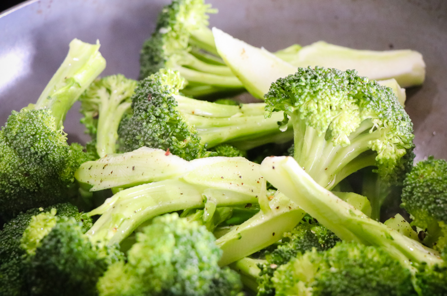 Cut the broccoli up as long trees with stalks