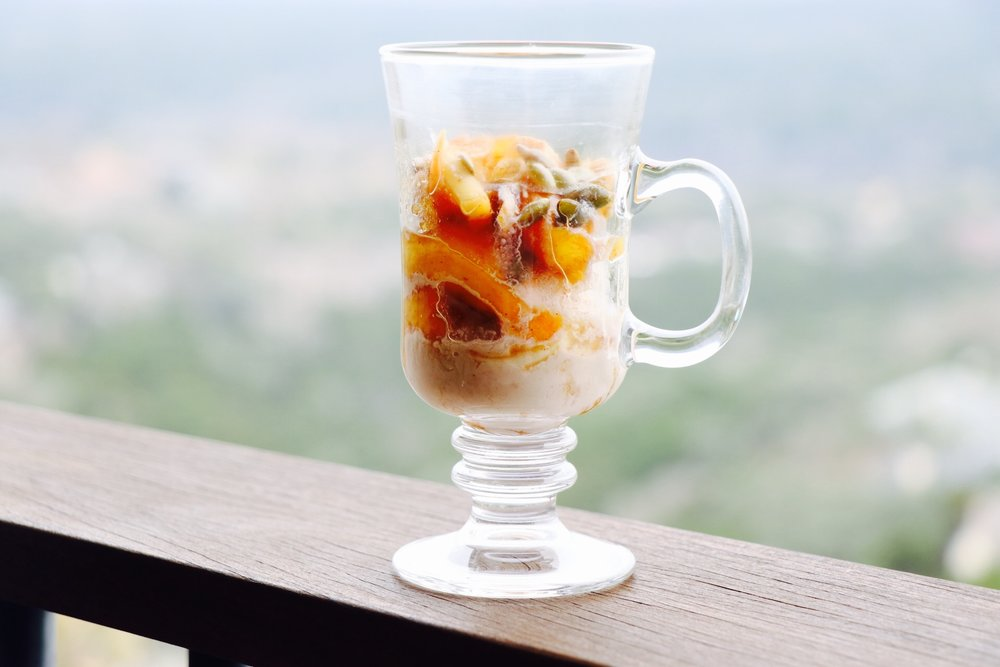 Caramelized apples and peaches smothered in Irish Cream - what's not to love about that?!