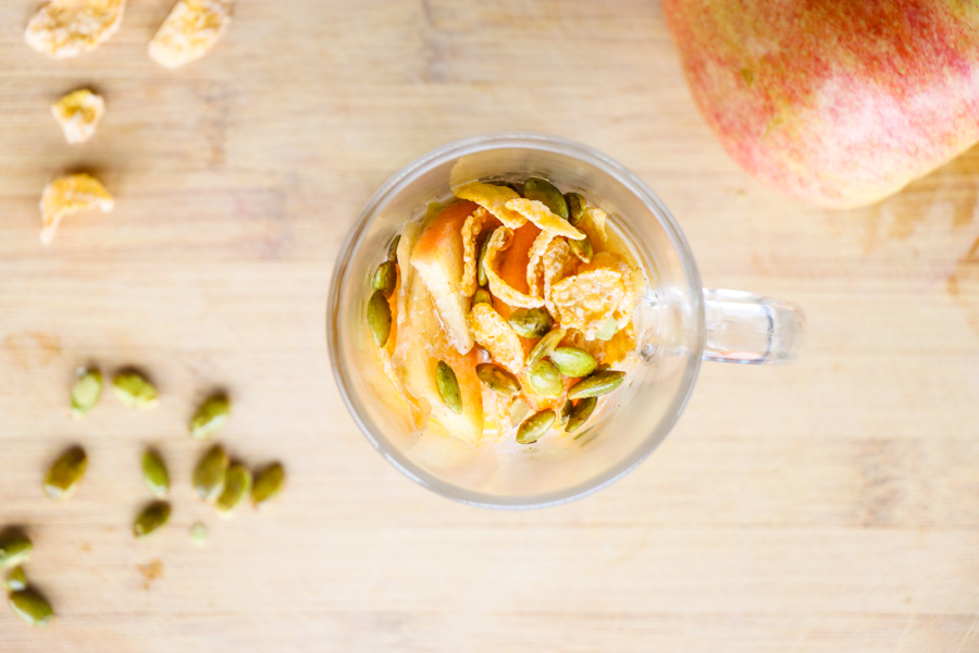 caramelized fruit with toasted pumpkin seeds, corn flakes and homemade irish cream