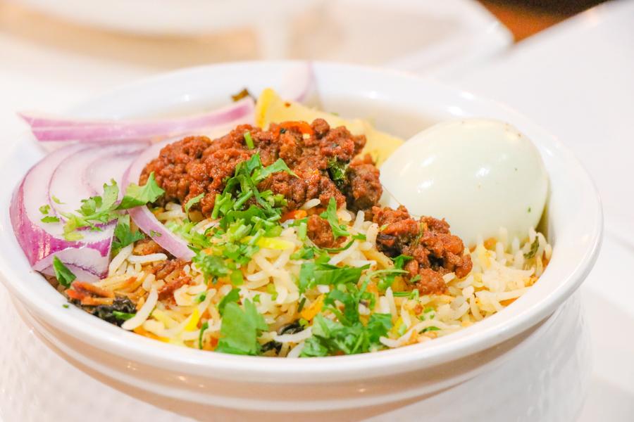 Keema Biryani (ground goat fried rice)
