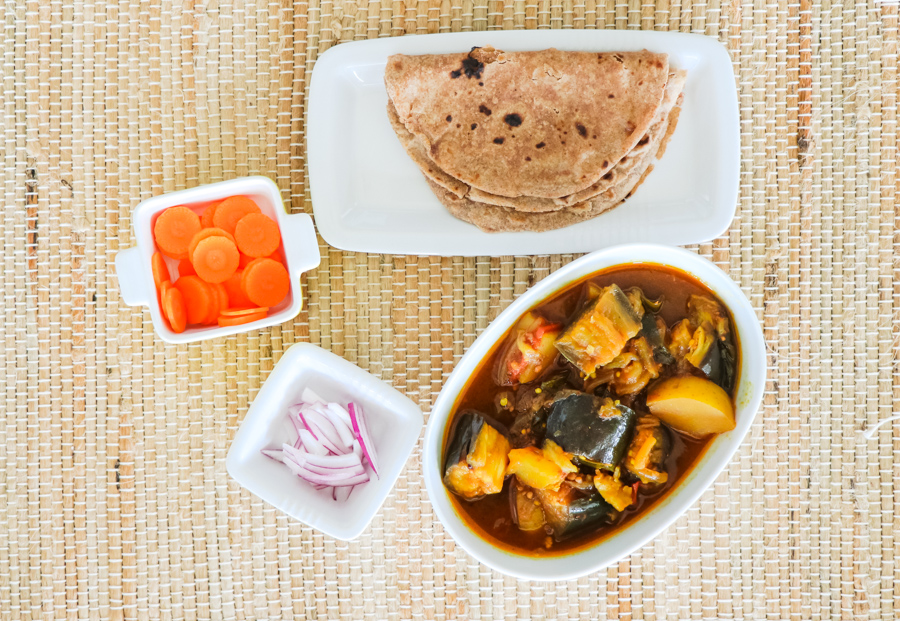 roti with italian eggplant curry