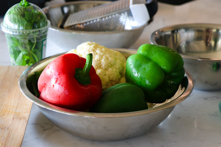 red bell peppers and green bell peppers