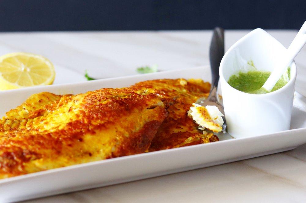 Turmeric Fish with Mint & Kale Chutney
