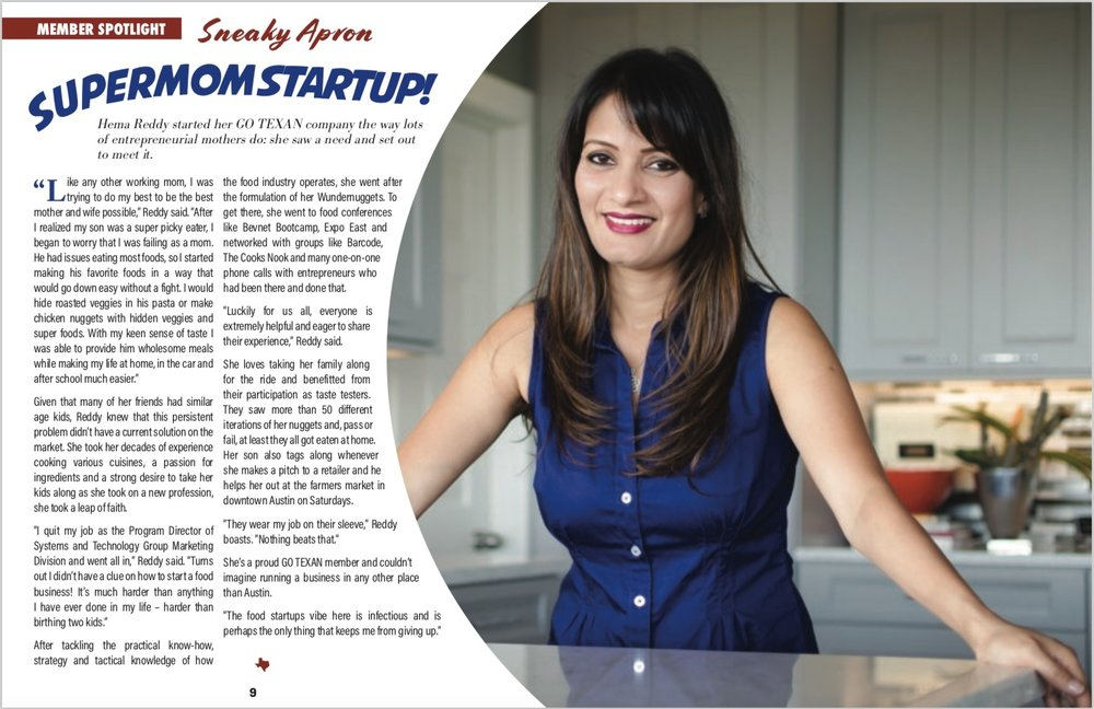Hema Reddy and Crafty Counter (previously known as Sneaky Apron) featured in statewide publication of GoTexan
