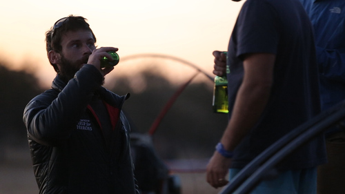 Here's Cayle Royce enjoying a well earned beer thanks to Ninkasi Brewery.