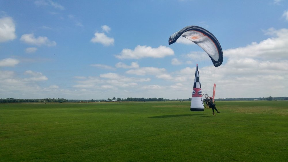 Ian's rather dainty foot drag through the finish posts