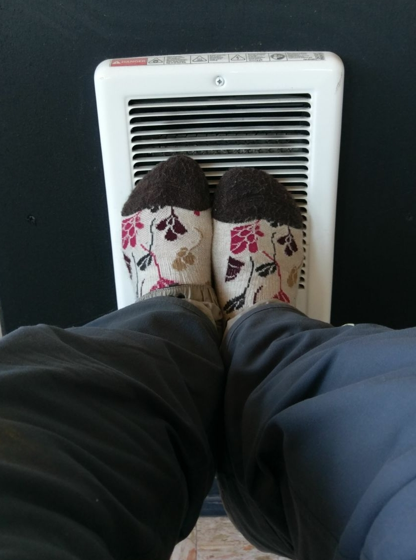 """Recognize this heater Trey? It's also useful for heating up frozen feet."""