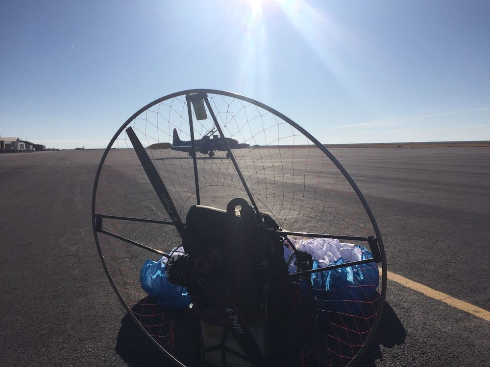 """Holy shit holy shit holy shit. That's an old blue angel and my paramotor!"""