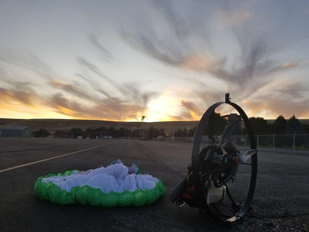 Paramotor at dawn