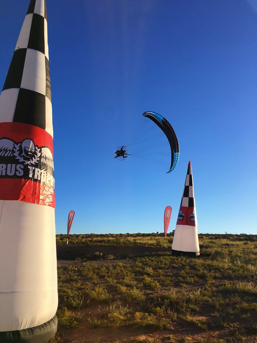 Icarus crew member Kester Haynes flying at the adventure class finish line.