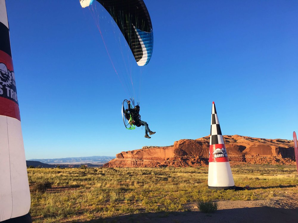 Kester Haynes, Icarus crew member flying at the Adventure Class finish line.