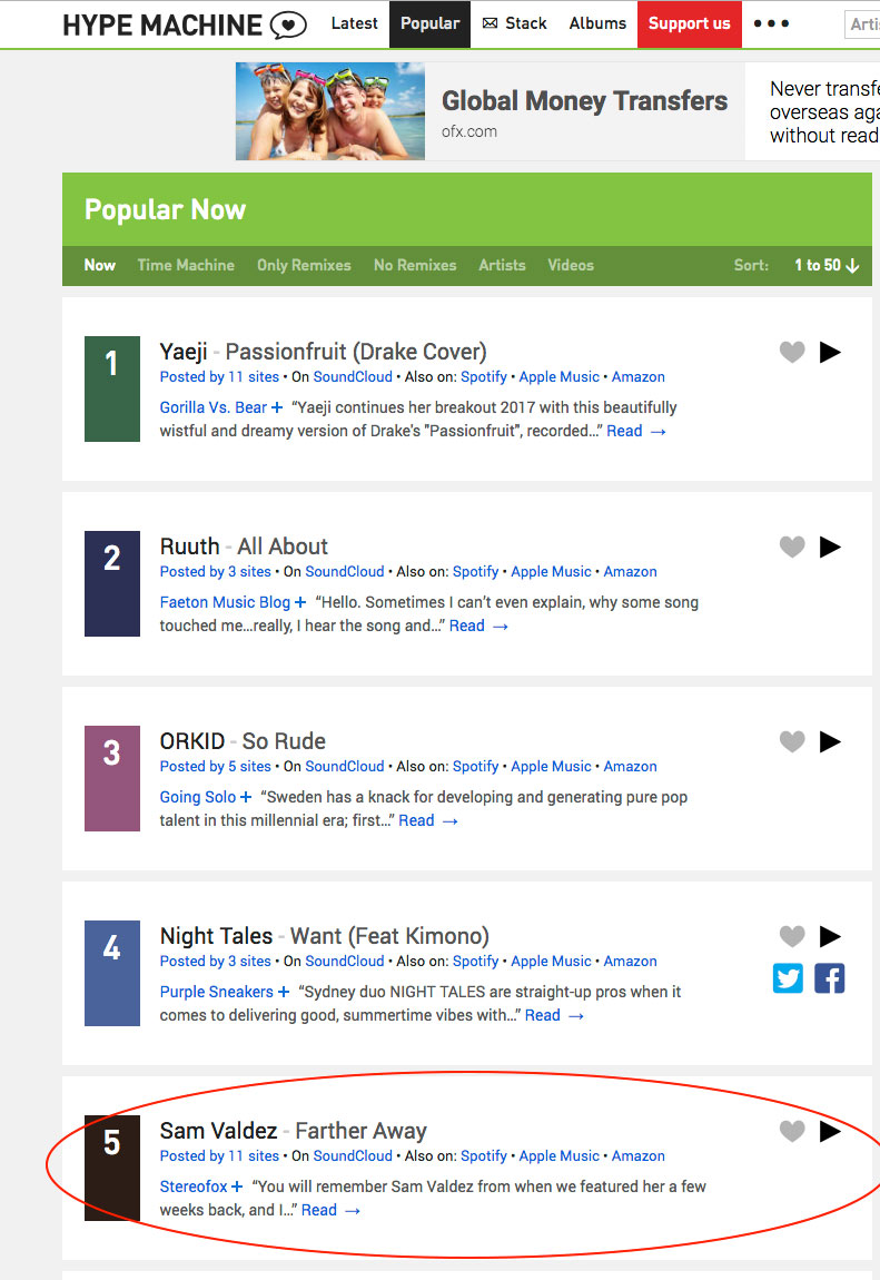 #5 on Hype Machine most popular