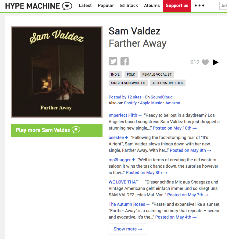 "612 ""loves"" on Hype Machine for Farther Away"