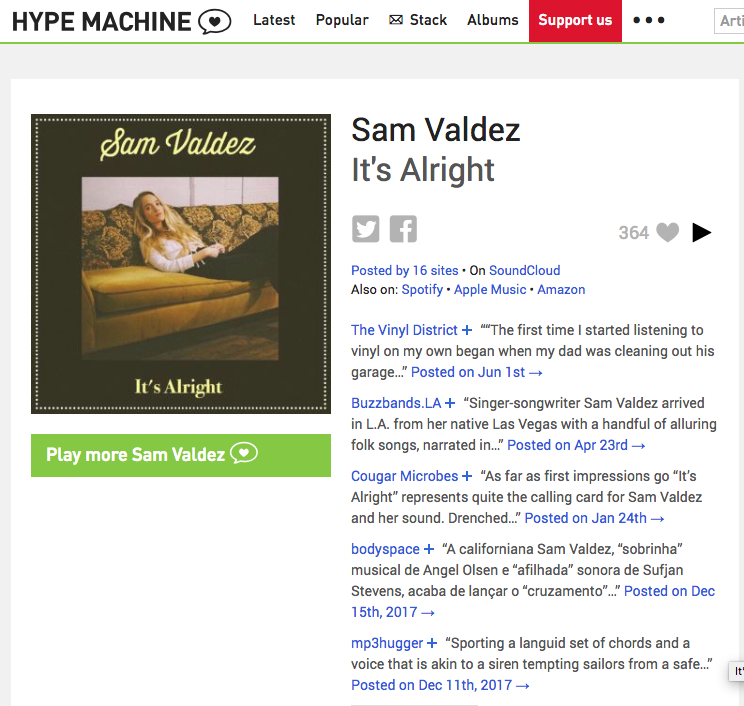 Top Hype M Blogs and 364 Loves on Hype Machine