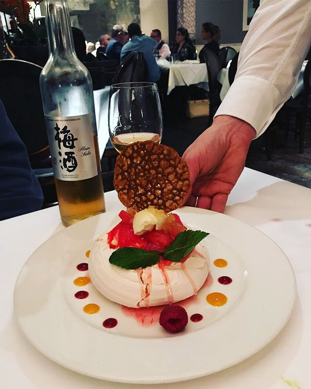 "We're loving this pairing of pavlova & rhubarb with our @kobe_shushinkan_fukuju plum sake 😍 at the Wild Goose Grill in Ranelagh. The seared tuna starter with @tedorigawa6 ""Shukon"" #junmaiginjo was also outstanding."