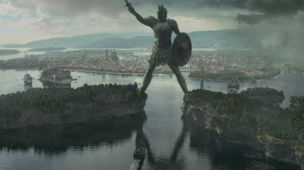 The Titan of Braavos in front of the city itself from   The House of Black and White  (S5E2)