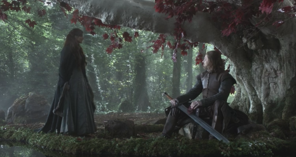 Ned praying to the Old Gods in front of a weirwood tree in  Winter is Coming  (S1E1)